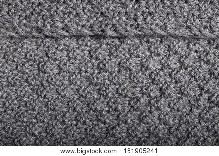 Knit Work In Details For Gray Fabric, Textile.