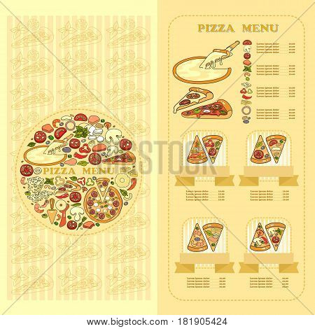 Pizza Menu card. Set of cute various pizza ingredient  icons on yellow background. For pizzeria.