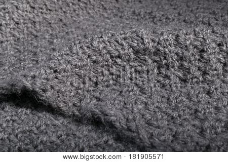 Rough Hand Made Knitted Gray Fabric.