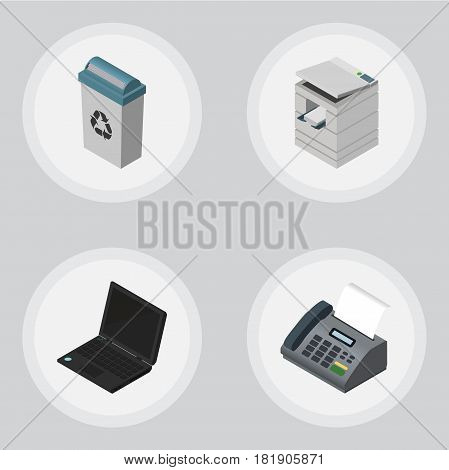 Isometric Office Set Of Scanner, Office Phone, Garbage Container And Other Vector Objects. Also Includes Computer, Printer, Fax Elements.