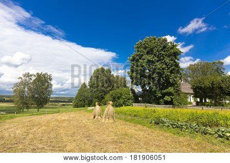 Rural landscape with haystack in the garden