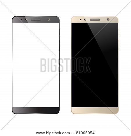 Black and white smartphones isolated on white background. Mobile smart phone with blank screen. Cell phone mockup design. Vector illustration.