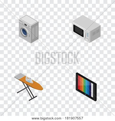 Isometric Technology Set Of Cloth Iron, Television, Laundry And Other Vector Objects. Also Includes Microwave, Laundry, Kitchen Elements.