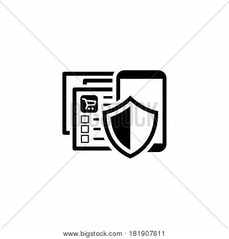 Safety Shopping APP Icon. Flat Design. Business Concept Isolated Illustration. App Symbol or UI element. Web Page with a Mobile Device and a Shield.