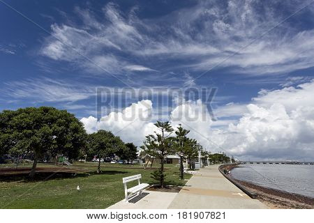 View of the Woody Point Park a very sought after sheltered picnin area on the southern foreshore of the Redcliffe Peninsula Queensland Australia