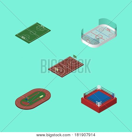 Isometric Training Set Of Ice Games, Fighting, B-Ball And Other Vector Objects. Also Includes Soccer, Fighting, Run Elements.
