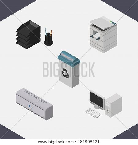 Isometric Office Set Of Garbage Container, Wall Cooler, Desk File Rack And Other Vector Objects. Also Includes File, Cooler, Tray Elements.