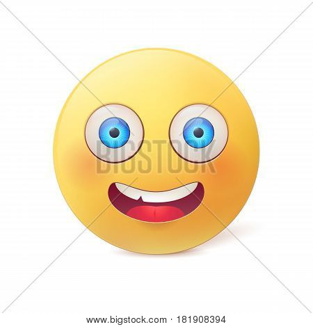 Happy smile. Vector obraund character with big eyes and cute blush isolated on white background.