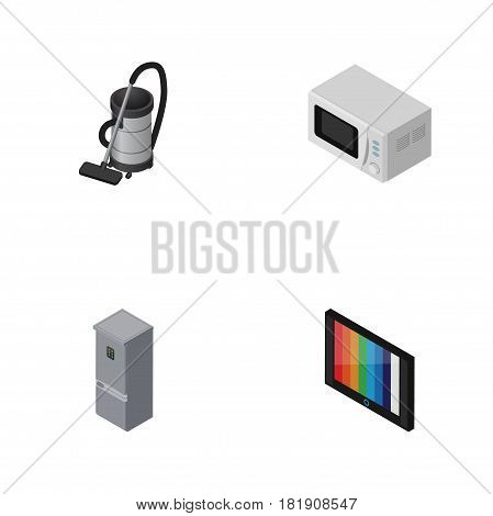 Isometric Electronics Set Of Kitchen Fridge, Vac, Microwave And Other Vector Objects. Also Includes Fridge, Stove, Television Elements.