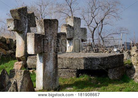 Three stone crosses on ancient ukrainian Cossack's graveyard, Odessa, Ukraine,Europe