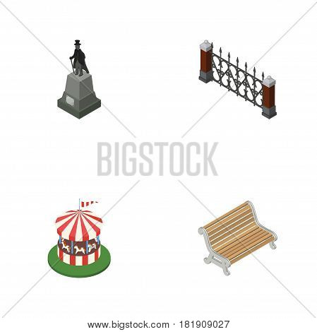 Isometric Urban Set Of Carousel, Sculpture, Seat And Other Vector Objects. Also Includes Park, Bench, Statue Elements.