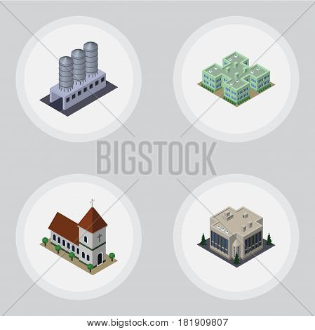 Isometric Building Set Of Water Storage, Clinic, Chapel And Other Vector Objects. Also Includes Tank, Clinic, Company Elements.