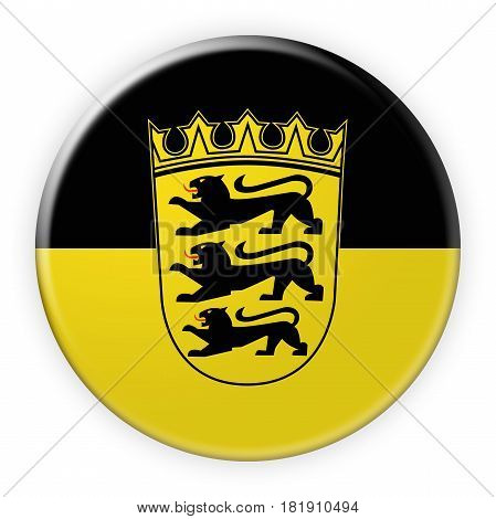Germany Federal State Button: Baden-Wuerttemberg Flag Badge 3d illustration on white background