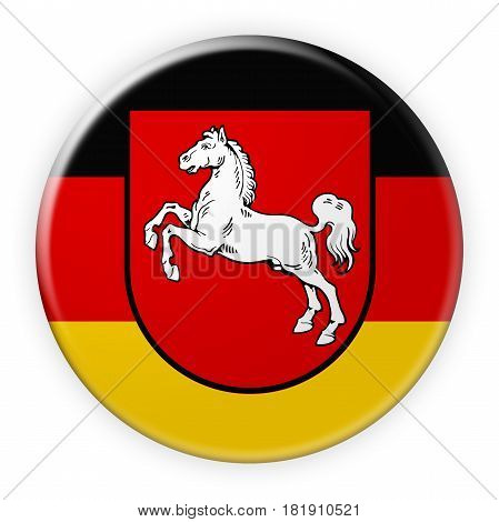 Germany Federal State Button: Lower Saxony Flag Badge 3d illustration on white background