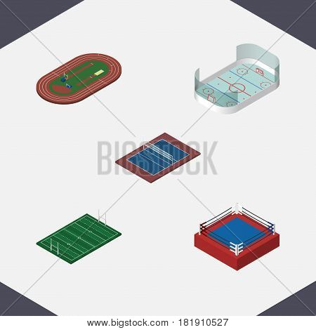 Isometric Sport Set Of Fighting, Tennis, Ice Games And Other Vector Objects. Also Includes Hockey, Rugby, Fighting Elements.