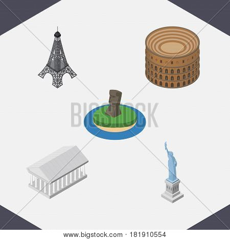 Isometric Architecture Set Of Coliseum, New York, Athens And Other Vector Objects. Also Includes Paris, Rome, Liberty Elements.
