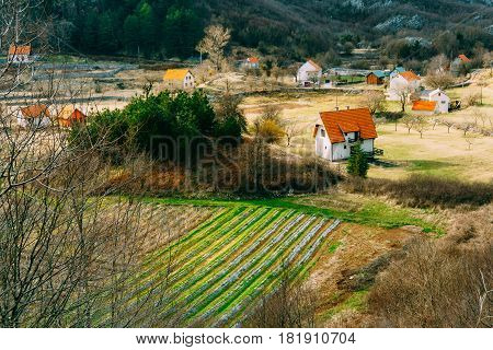 House in the mountains near the fields. Cetinje, Montenegro, against the backdrop of Mount Lovcen.