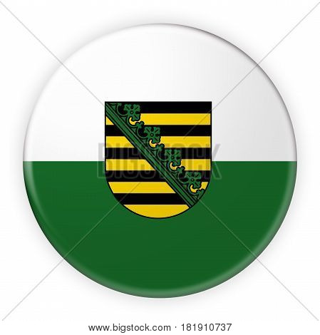 Germany Federal State Button: Saxony Flag Badge 3d illustration on white background