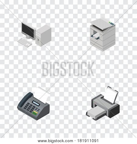 Isometric Cabinet Set Of Computer, Office Phone, Printing Machine And Other Vector Objects. Also Includes Telefax, Photocopier, Fax Elements.