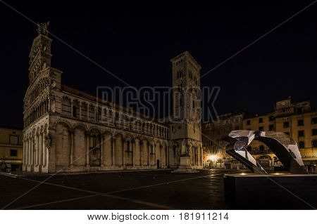San Michele in Foro is a Roman Catholic basilica church in Lucca Tuscany central Italy built over the ancient Roman forum. (night photography)