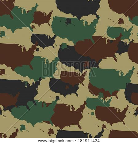 Military camouflage pattern. Seamless camo in different colors. Vector military print USA map. Army woodland camo.