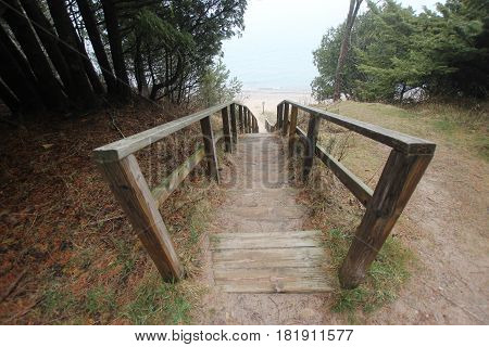 Stairs leading to Lake Michigan in Sleeping Bear Dunes National Lakeshore, Michigan