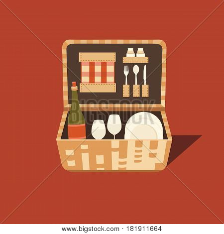 Vector illustration of a picnic basket. Set for barbecue. Summer weekend outdoors. Family picnic. Collection of objects: basket, wine, plate, fork, spoon, glass, napkins. Rest in park.