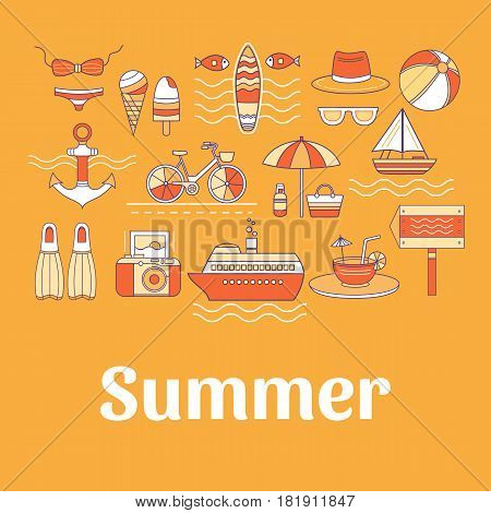 Collection of vector summer line icons. Set of elements: bicycle, anchor, ice cream, surfing, ship, swimsuit, cocktail, flippers, hat, sunglasses and others. Illustration of summer vacation.