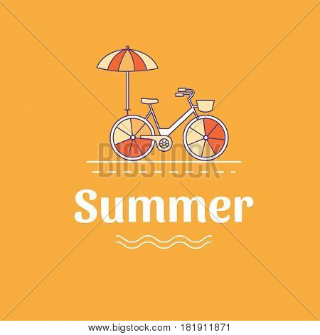 Vector illustration of summer vacation. Banner with bicycle. Vacation on the beach. Active rest. Camping. Background for cards, invitations, cover, flyers, web pages. Logo design. Line style.