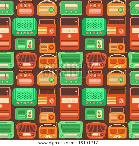 Vector seamless pattern nostalgia. Retro pattern with tape recorders and radio. Vintage template with a retro object. Music 90s, 80s, 70s, 60s. Background for banner, invitation, card, album.