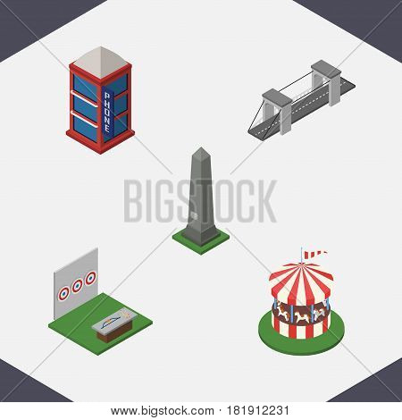 Isometric City Set Of Highway, Carousel, Phone Box And Other Vector Objects. Also Includes Game, Highway, Dc Elements.