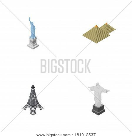Isometric Travel Set Of Paris, New York, Rio And Other Vector Objects. Also Includes Redeemer, Pyramids, Liberty Elements.