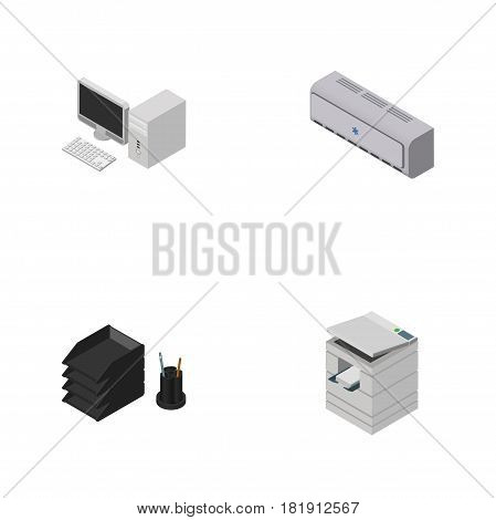 Isometric Work Set Of Wall Cooler, Scanner, Desk File Rack And Other Vector Objects. Also Includes Photocopier, Conditioner, Desktop Elements.