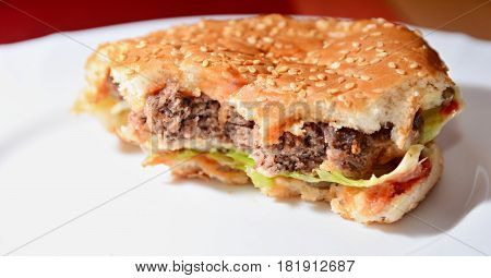 Closeup of Homemade Ordinary Hamburger with a Bites Missing. Typical Unhealthy Food.