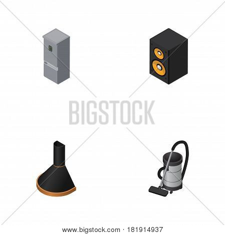 Isometric Device Set Of Vac, Music Box, Air Extractor And Other Vector Objects. Also Includes Fridge, Vac, Vacuum Elements.
