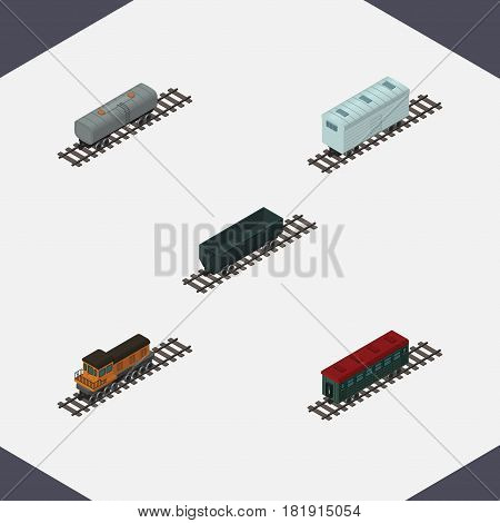 Isometric Railway Set Of Train, Railroad Carriage, Oil Wagon And Other Vector Objects. Also Includes Metal, Wagon, Carriage Elements.