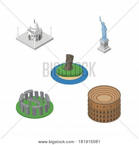 Isometric Attraction Set Of Coliseum, New York, Chile And Other Vector Objects. Also Includes England, Historic, Coliseum Elements.