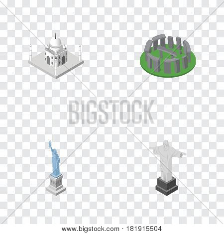 Isometric Attraction Set Of New York, Rio, India Mosque And Other Vector Objects. Also Includes England, Stonehenge, Christ Elements.