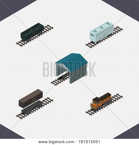 Isometric Transport Set Of Train, Carbon Railway Container, Railroad Carriage And Other Vector Objects. Also Includes Train, Container, Carriage Elements.
