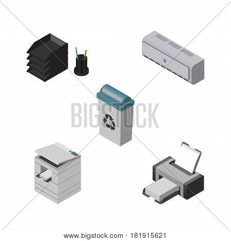 Isometric Work Set Of Wall Cooler, Scanner, Printing Machine And Other Vector Objects. Also Includes Cooler, Tray, Air Elements.