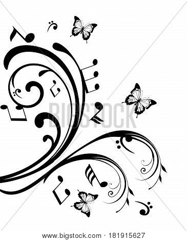 vector illustration of swirls with musical notes and butterflies