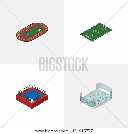 Isometric Lifestyle Set Of Run Stadium, Fighting, Soccer And Other Vector Objects. Also Includes Fighting, Field, Stadium Elements.