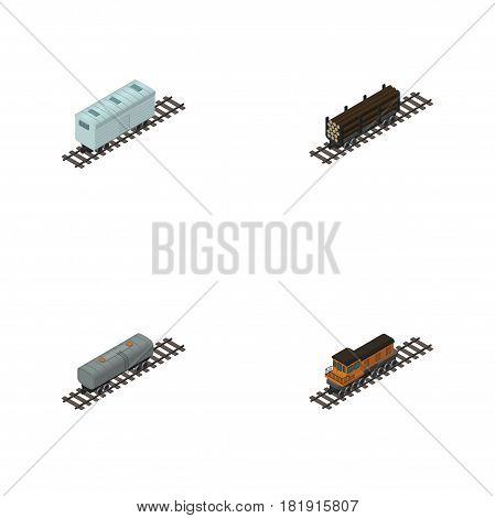 Isometric Train Set Of Train, Oil Wagon, Railroad Carriage And Other Vector Objects. Also Includes Lumber, Wagon, Metal Elements.