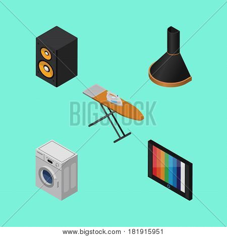 Isometric Electronics Set Of Laundry, Television, Air Extractor And Other Vector Objects. Also Includes Loudspeaker, Music, Tv Elements.