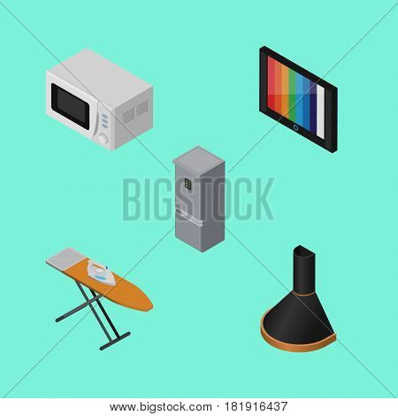 Isometric Device Set Of Kitchen Fridge, Air Extractor, Television And Other Vector Objects. Also Includes Kitchen, Refrigerator, Device Elements.