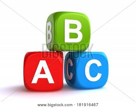 abc cubes on the white background (3d rendering)