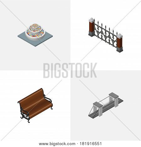 Isometric Architecture Set Of Plants, Highway, Fence And Other Vector Objects. Also Includes Hedge, Bridge, Fence Elements.