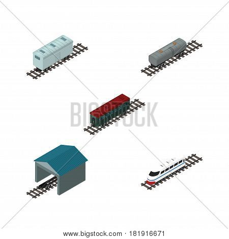 Isometric Transport Set Of Subway Vehicle, Oil Wagon, Depot And Other Vector Objects. Also Includes Oil, Underground, Stop Elements.