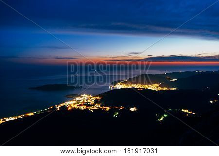 Night Budva, Montenegro. The new town, the view from the highest mountain