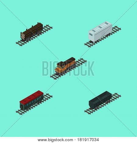 Isometric Transport Set Of Carbon Railway Container, Railroad Carriage, Train And Other Vector Objects. Also Includes Lumber, Coal, Wagon Elements.